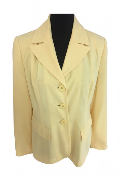 Metro Style, Women's Yellow Notched Lapel Suit Blazer - Size: 14 (Regular)