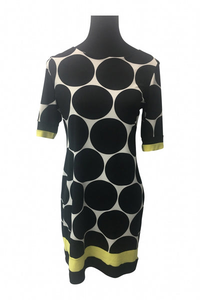 Karin Stevens, Women's Black, White, And Yellow Polka-dot Kameez Dress - Size: 8 (Regular)