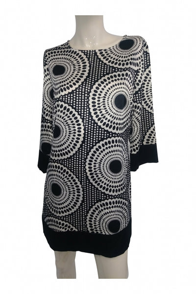 Apt. 9, Women's Black And White Long-sleeved Dress - Size: S (Regular)