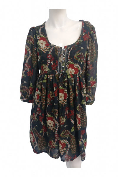 H&M, Women's Black, Red, And Green Floral Dress - Size: 6 (Regular)