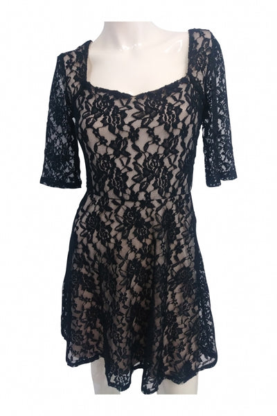 A.byer, Women's Black  Floral Dress - Size: S (Regular)