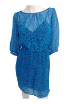 Delias, Women's Blue Leopard-print Long-sleeved Dress - Size: XS (Regular)