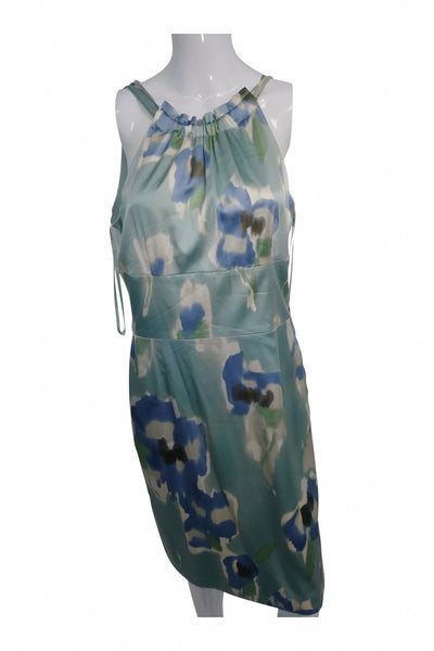 Ann Taylor, Women's White And Blue Floral Dress - Size: 8 (Regular)