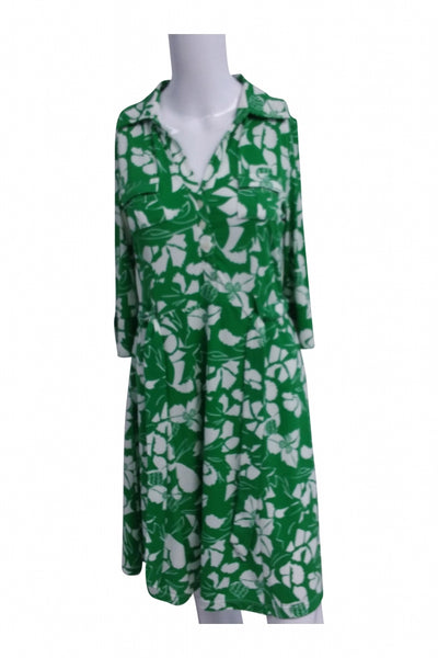 Old Navy, Women's Green And White Floral Short-sleeved Dress - Size: S (Regular)