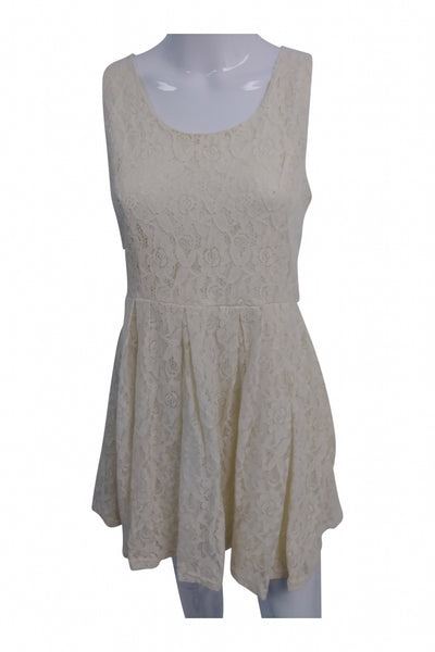 Forever 21, Women's Beige Lace Sleeveless Dress - Size: M (Regular)