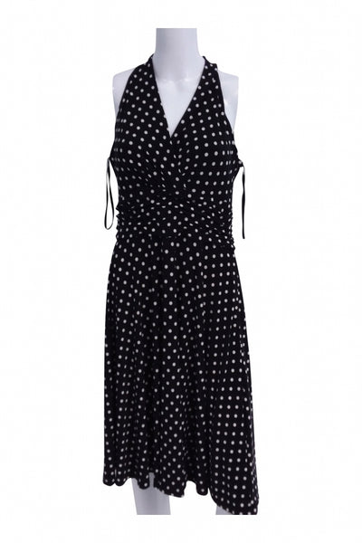 Chaps, Women's Black And White Polka-dot Sleeveless Dress - Size: L (Regular)