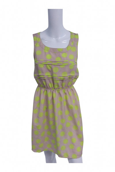 Xhilaration, Women's Yellow And Pink Polka-dot Sleeveless Mini Dress - Size: M (Regular)