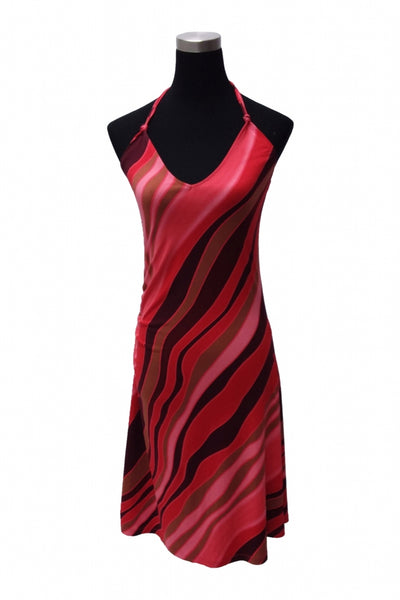 H&M, Women's Red, Pink, And Black Scoop-neck Sleeveless Dress - Size: 8 (Regular)