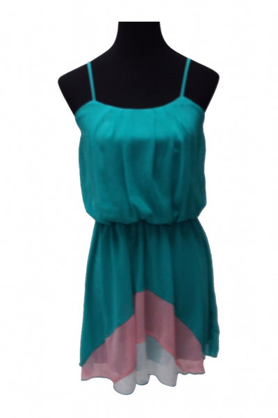 Sweet Storm, Women's Teal And Pink Tank Dress - Size: M (Regular)