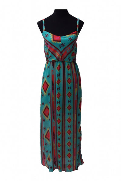 Ruby Rox, Women's Blue, Green, And Red Floral Dress - Size: 12 (Regular)
