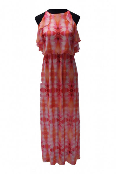 Bisou Bisou, Women's Orange, Pink, And White Tube Maxi Dress - Size: 12 (Regular)
