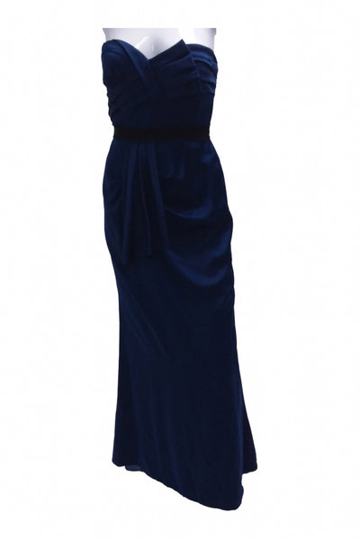BCBGMAXAZRIA, Women's Dark-blue Strapless Sweetheart Neckline Dress - Size: 4 (Regular)
