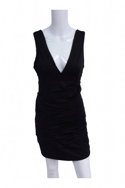 Nikibiki, Women's Black V-neck Sleeveless Mini Dress - Size: L (Regular)