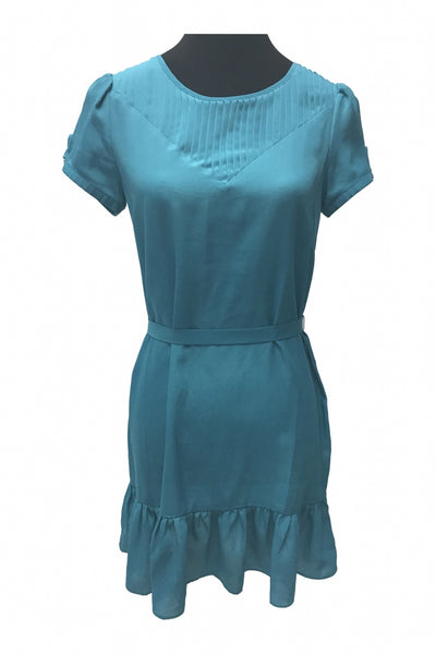 I Love H81, Women's Teal Short-sleeved Dress - Size: M (Regular)