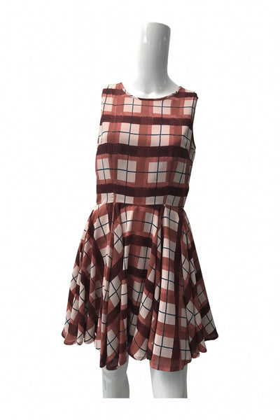 Maison Jules, Women's Brown And Black Plaid Dress - Size: M (Regular)
