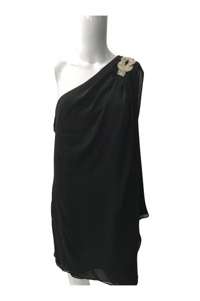 JS Boutique, Women's Black 1-shoulder Dress - Size: 14 (Regular)