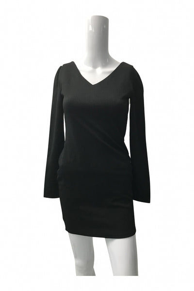 Unbranded, Women's Black Long-sleeved Mini Dress - Size: M (Regular)