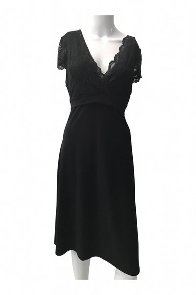 B.moss, Women's Black Midi Dress - Size: L (Regular)