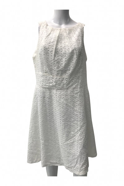 New York & Company, Women's White Sleeveless Mini Dress - Size: 16 (Regular)