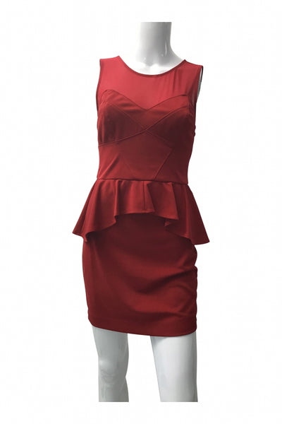 Arden B., Women's Red Sleeveless Peplum Dress - Size: M (Regular)