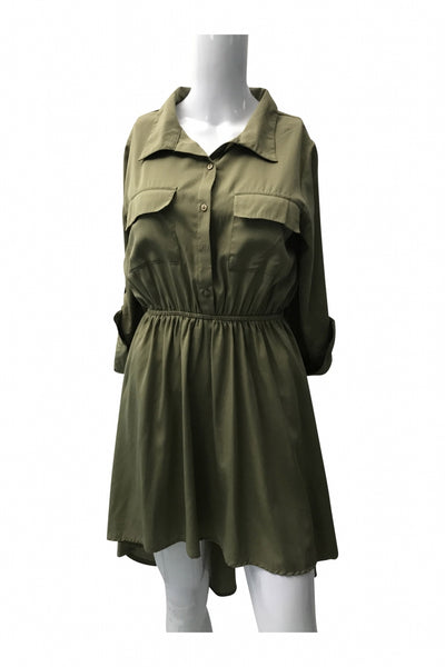 Live 4 Truth, Women's Green Button-up Long-sleeved Dress - Size: M (Regular)