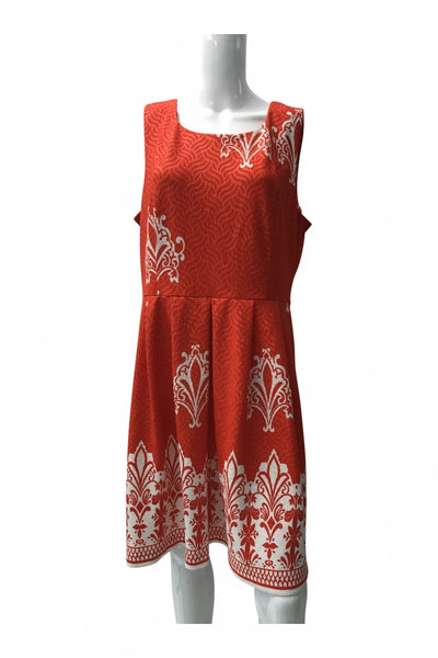 New York & Company, Women's Red And White Floral Sleeveless Dress - Size: XL (Regular)