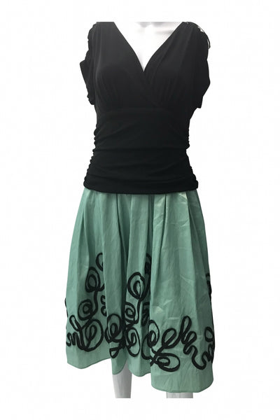 DressBarn, Women's Black And Teal  Dress - Size: 18 (Regular)