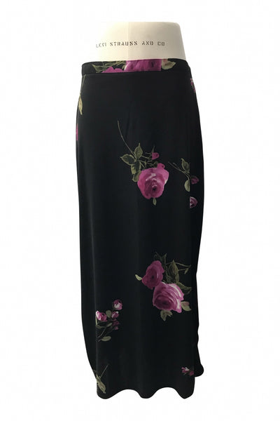 Natations, Women's Black And Pink Floral Skirt - Size: L (Regular)