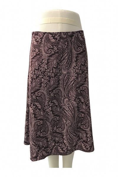 New York & Company, Women's Maroon And Pink Floral Skirt - Size: 12 (Regular)