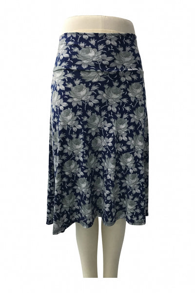 Lularoe, Women's Blue And Grey Floral Skirt - Size: XS (Regular)
