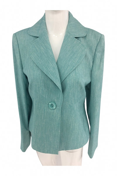 Kasper, Women's Teal Notched Lapel Suit Blazers - Size: 8 (Regular)