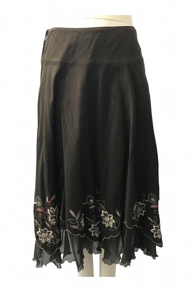 Nine West, Women's Brown, Gray, And Pink Floral Skirt - Size: 10 (Regular)