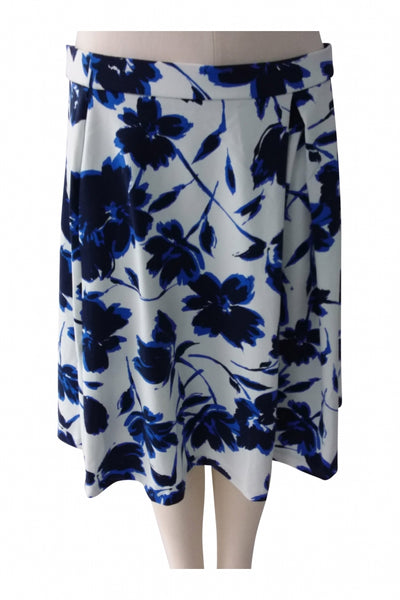 Adrienne Vitadini, Women's White And Blue Floral Skirt - Size: L (Regular)