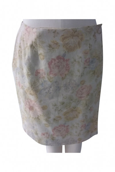 Chelsea Campbell, Women's White Floral Skirt - Size: 14 (Regular)