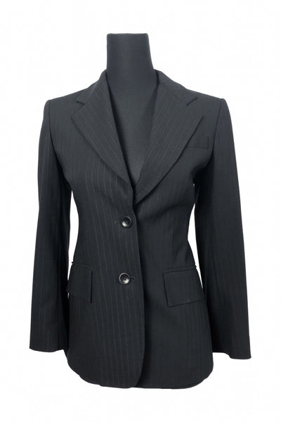 Unbranded, Women's Black Pinstriped Blazer - Size: 2 (Regular)