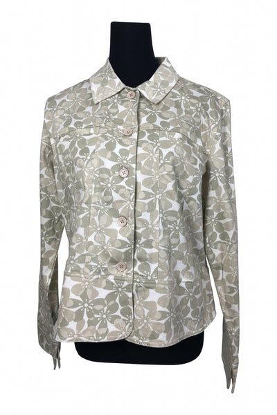 Lemon Grass, Women's Beige Light Green And White Floral Jacket - Size: XL (Regular)