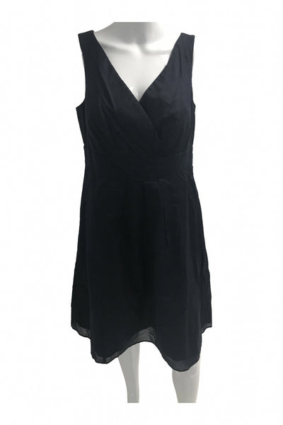 Lands End, Women's Black V-neck Sleeveless Dress - Size: 10 (Regular)