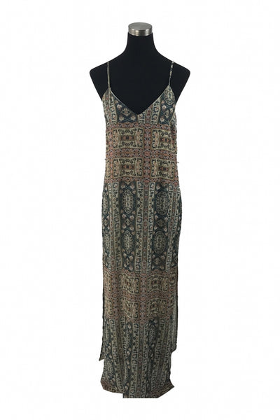 Forever 21, Women's Brown And Black Spaghetti Strap Long Dress - Size: L (Regular)