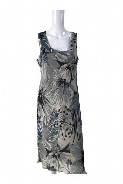 Dana Kay, Women's Gray And Black Sleeveless Dress - Size: 14 (Regular)