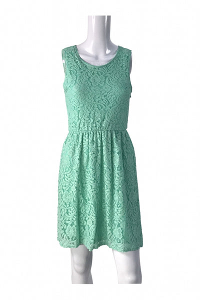 Pine, Women's Teal Lace Floral Crew-neck Sleeveless Pleated Dress - Size: M (Regular)