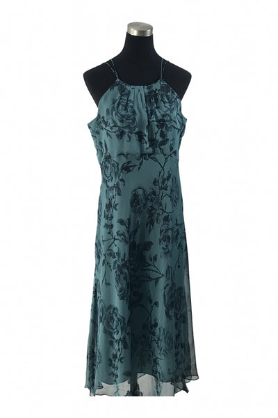 Evan Picone, Women's Teal And Black Floral Spaghetti Strap Dress - Size: 16 (Regular)