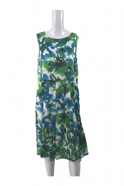 Jones New York Collection, Women's White, Green, And Blue Floral Sleeveless Dress - Size: 14 (Regular)