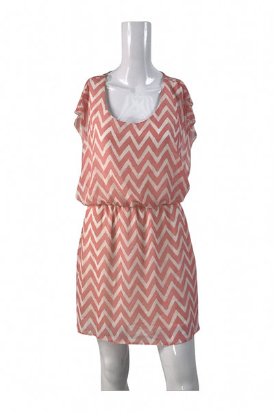 Bongo, Women's Pink And White Chevron Scoop-neck Sleeveless Midi Dress - Size: M (Regular)