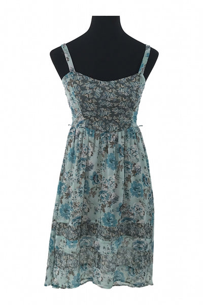 Mudd, Women's Teal And Gray Floral Sleeveless Dress - Size: S (Regular)
