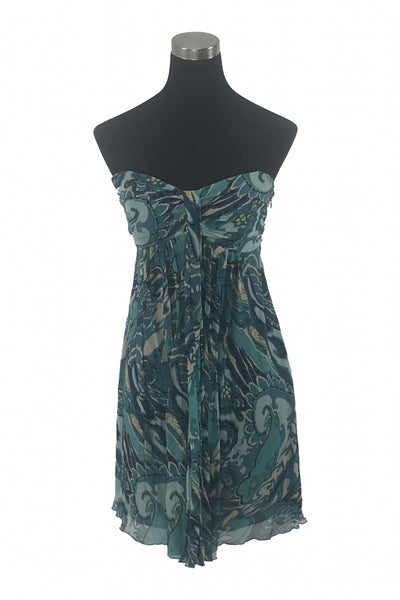 Express, Women's Black And Blue Floral  Dress - Size: 10 (Regular)