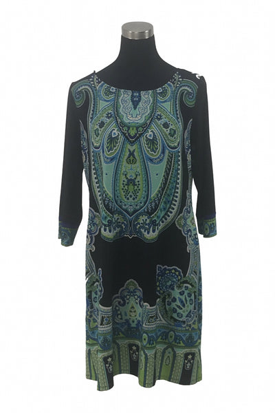 London Times, Women's Multicolored Floral Long-sleeved Dress - Size: 14 (Regular)