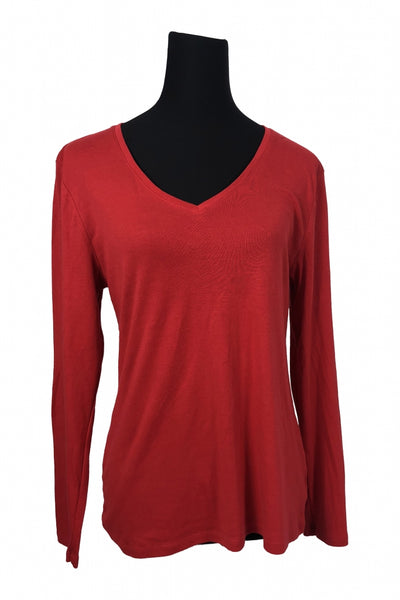 Perfect, Women's Red V-neck Long-sleeved Shirt - Size: XL (Regular)