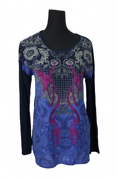 Lamour Nanette Lepore, Women's Purple, Black, And Pink Scoop-neck Long-sleeved Top - Size: M (Regular)