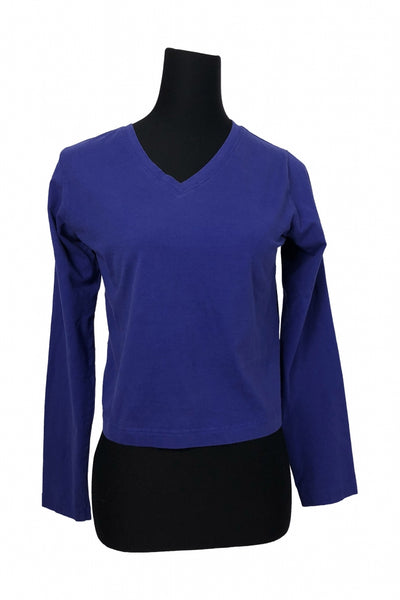 Danskin, Women's Blue V-neck Top - Size: L (Regular)