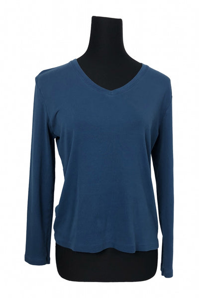 Taylor Marco, Women's Blue V-neck Long-sleeved Top - Size: XL (Regular)
